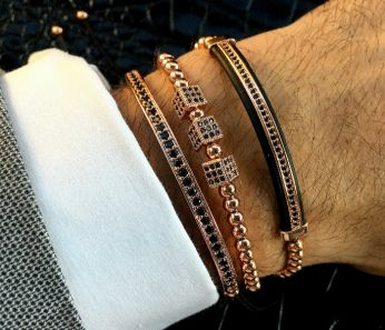 Luxury Set 3 Rose Gold 14K Brooks Bracelets