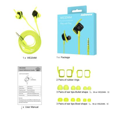 Casti audio in-ear cu fir waterproof IPX4 cu microfon WE204M Green