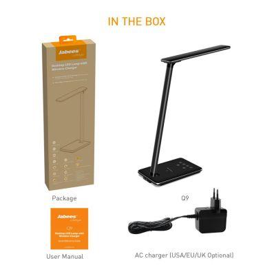 Incarcator wireless Qi pt telefon si lampa de birou cu port USB
