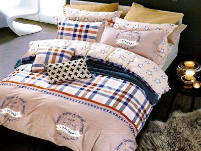 Lenjerie de pat din bumbac 100% de calitate cu 4 piese pentru 2 persoane cu forme geometrice pe fond crem