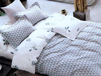 Lenjerie de pat din bumbac 100% de calitate cu 4 piese pentru 2 persoane de culoare maro/bleo