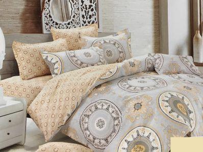 Lenjerie de pat din bumbac 100% de calitate cu 4 piese pentru 2 persoane cu motive florale pe fond gri