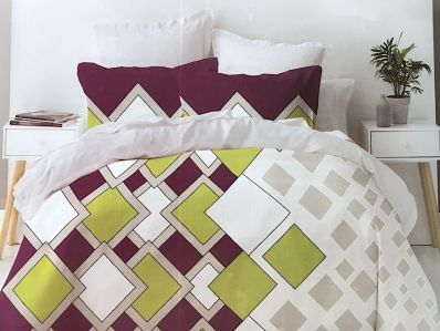 Lenjerie de pat din bumbac 100% de calitate cu 4 piese pentru 2 persoane cu romburi colorate pe fond gri deschis