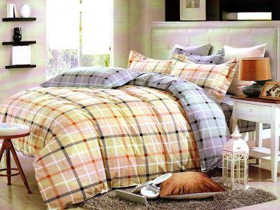 Lenjerie de pat din bumbac 100% de calitate cu 4 piese pentru 2 persoane in culorile crem si roz
