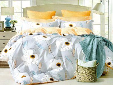 Lenjerie de pat din bumbac 100% de calitate cu 4 piese pentru 2 persoane in nuante de gri, alb si bleo