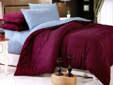 Lenjerie de pat din bumbac satinat de calitate cu 4 piese Textilis in culorile Mov UNI / Bleo UNI