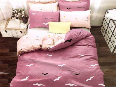 Lenjerie de pat din bumbac satinat de calitate cu 4 piese pentru 2 persoane Textilis in nuante de mov pal