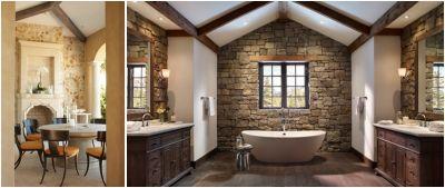 Piatra naturala stil antique si lemnul antichizat fac casa buna