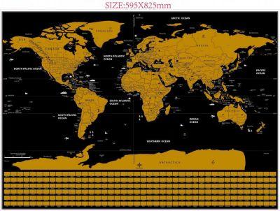 Harta lumii razuibila Deluxe - 59.5 x 82.5 cm