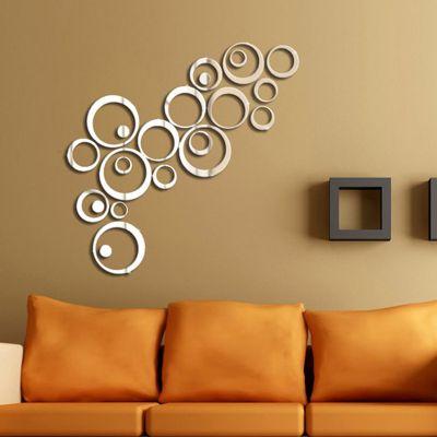 Sticker acrilic 3D Circle Mirror  75x48 cm Silver
