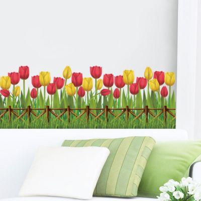 Sticker Lalele decor perete / geam 135 x 25 cm