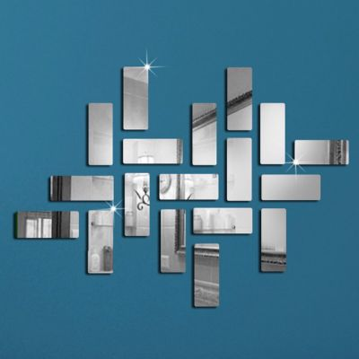 Sticker perete 3D Bricks Mirror Silver