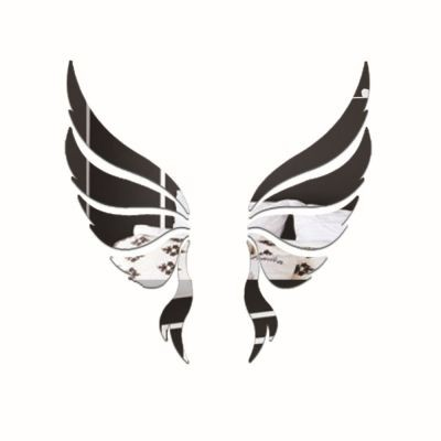 Sticker perete 3D Mirror Angel Silver