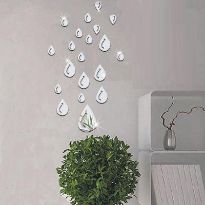 Sticker perete 3D Mirror Silver Rain Drops