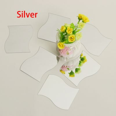 Sticker perete 3D Mirrors Silver 17x14.5cm (6 buc/set)
