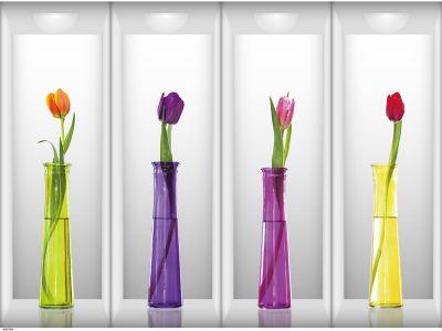 Sticker perete Flowers 3D lalele 4 buc/set 60x90cm