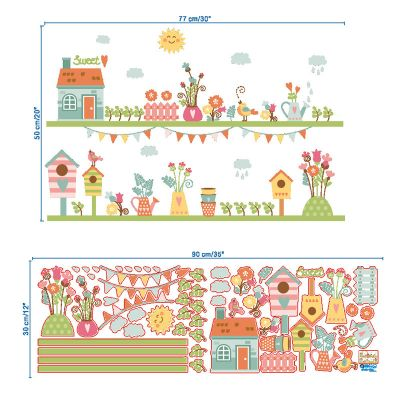 Sticker perete Flowers and birds