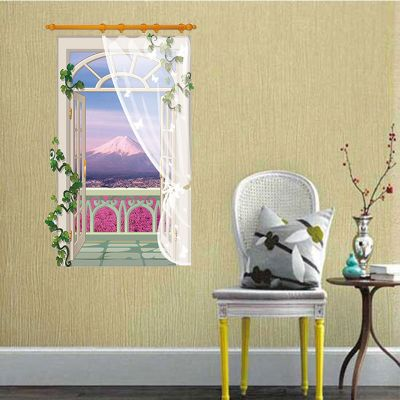 Sticker perete Mountain View 3D Window