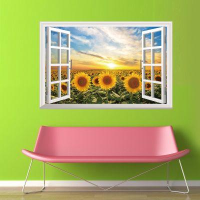 Sticker perete Sunflower 3D Window