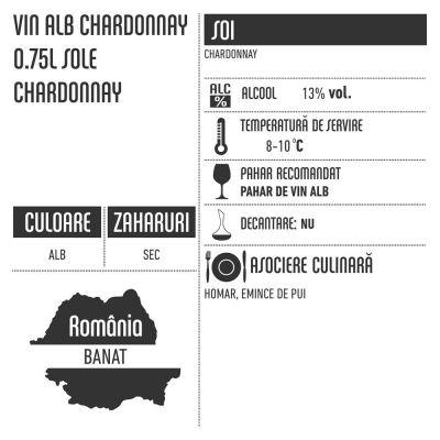 Vin alb sec Chardonnay Barrique Sole Recas 0.75l