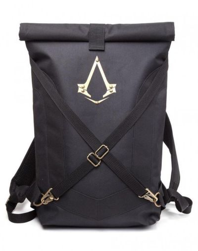 ASSASSINS CREED SYNDICATE BLACK BACKPACK WITH DOUBLE POCKETS