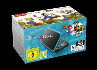 NINTENDO NEW 2DS XL CONSOLE BLACK & TURQUOISE WITH SUPER MARIO 3D LAND - GDG