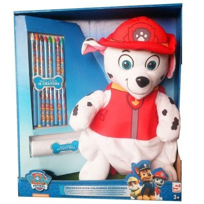 Rucsac Patrula Catelusilor (Paw Patrol) cu set creioane colorate (Paw Patrol backpack with colouring accesories)