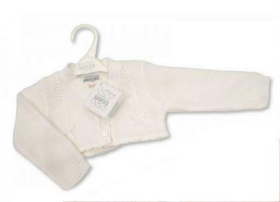 Bolero tricotat bebe-Alb