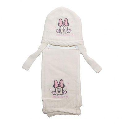 Set caciula-fular bebe Minnie -Alb