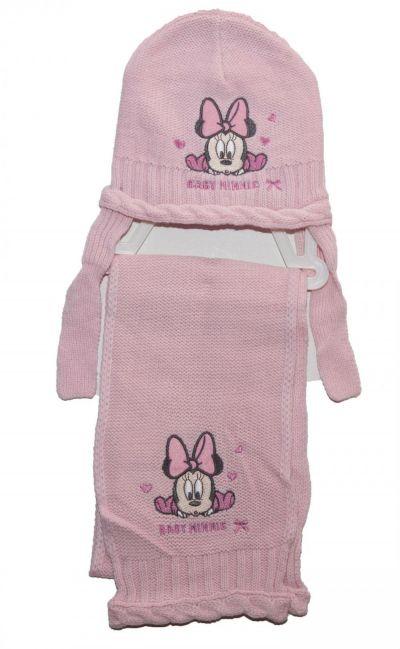 Set caciula-fular bebe Minnie -Roz