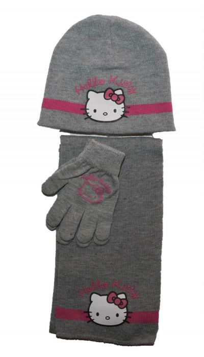 Set fes-fular-manusi Hello Kitty -Gri