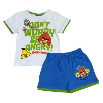 Set  tricou MS- PS Angry Birds-Alb
