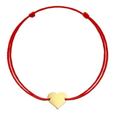 Bratara Inima din Aur aur galben femeie rosu