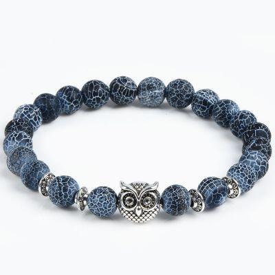 Bratara masculina Owl in the Sky, din pietre naturale semi-pretioase si cap de bufnita
