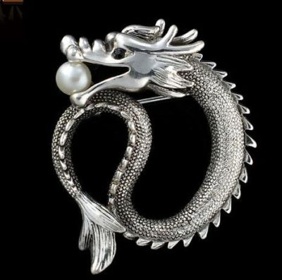 Brosa dragon Legend Silver Silver