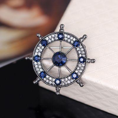 Brosa sacou timona Naval Argintiu cu pietre albastre