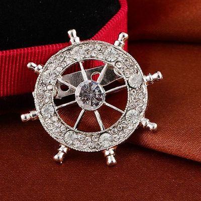 Brosa sacou timona Naval Argintiu cu pietre albe