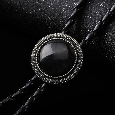 Cravata americana Bolo opal negru rotund Avangarde