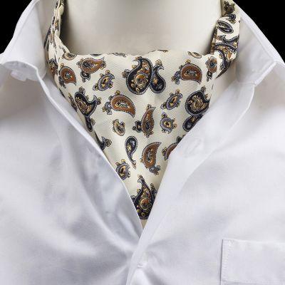 Cravata Ascot matase paisley alb Robert De Niro