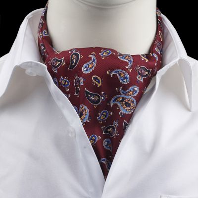 Cravata Ascot matase paisley rosie Al Pacino
