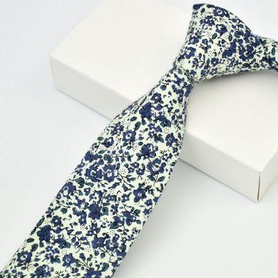 Cravata slim florala albastru si alb Blue Flower