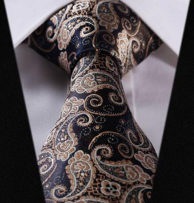 Cravata slim bleumarin paisley Ceremony