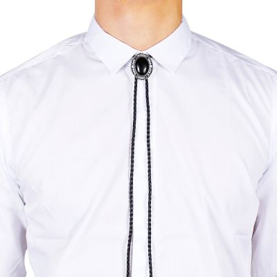Cravata americana Bolo opal negru Hammer