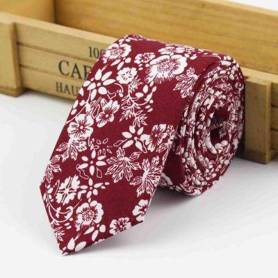 Cravata slim florala rosu si alb Castel
