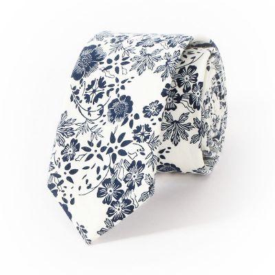 Cravata slim florala bleumarin si alb White Horse
