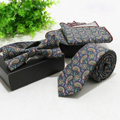 Set papion + cravata + batista sacou paisley floral albastru Denim