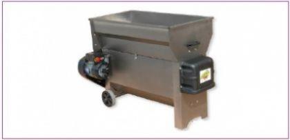 Dezciorchinător cu zdrobitor, cuvă rabatabilă 1.040 X 550 mm, complet inox, motor 2.5CP/220V, pompă centrifugă inox, capacitate maximă 3.000 kg/oră