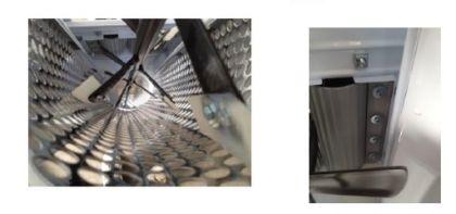 Dezciorchinător cu zdrobitor, cuvă în plan  înclinat vopsea emailată (900 x 500 mm) - motor 220 V, 1 CP, capacitate maximă 1.500 kg/oră