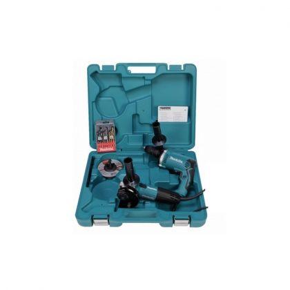 Kit 2 scule Makita DK0050X1 (Polizor unghiular GA5030R + Mașină de găurit cu percuție HP1631) + Accesorii + Geantă