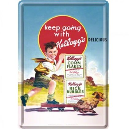 Carte postala metalica Keep going with Kellogg's